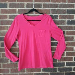 Hanes Women's Long Sleeve Pocket T Shirt L